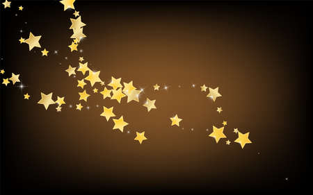 Gold Magic Stars Vector Brown Background. Graphic Sparkle Texture. Space Border. Golden Cosmos Star Illustration.