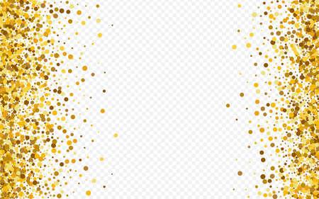 Gold Sequin Paper Transparent Background. Golden Sparkle Postcard. Golden Dot Glamour Background. Polka Transparent Backdrop.