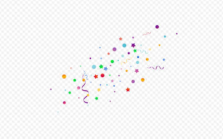 Bright Star Party Vector Panoramic Transparent Background. Isolated Ribbon Poster. Serpentine Christmas Template. Colored Swirl Design.