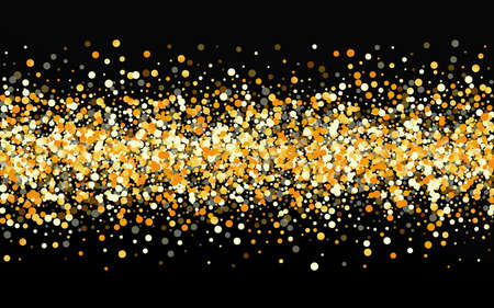 Golden Circle Transparent Black Background. Golden Rain Pattern. Gold Sparkle Happy Invitation. Splash Holiday Illustration.