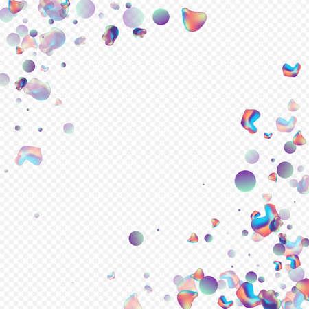 Iridescent Elements Cosmic Vector Transparent Background. Modern Holography Brochure. Neon Shape Liquid Poster. Light Organic Cover. Ilustracja