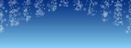 White Snowfall Vector Blue Background. Christmas Snow Backdrop. Gray Sky Illustration. Abstract Snowflake Design.