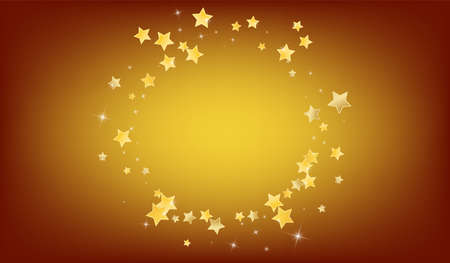 Gold Abstract Stars Vector Brown Background. Galaxy Universe Banner. Glow Border. Golden Celebration Dust Design. Ilustracja