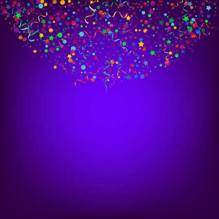 Colored Spiral Shiny Vector Blue Background. Fun Particles Plant. Serpentine Celebration Invitation. Multi colored Falling Template. Ilustracja