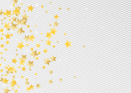 Yellow Xmas Stars Vector Transparent Background. Christmas Star Illustration. Space Pattern. Golden Bright Shine Banner.
