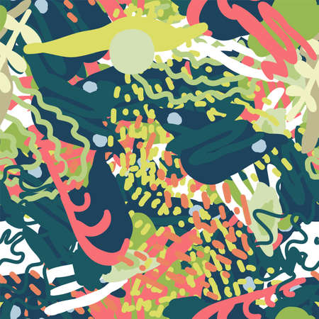 Bright Brush Bright Vector Seamless Pattern. Spring Element Design. Orange and Magenta Art Illustration. Textile Patchwork Collage.