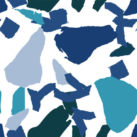 Blue and Green Terrazzo Tile Vector Seamless Pattern. Repeat Terrazzo Wall Background. Indigo and Gray Granite Pattern. Çizim