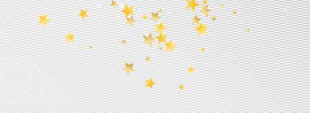 Yellow Glamour Stars Vector Transparent Background. Elegant Rain Background. Star Illustration. Golden Effect Glow Banner.