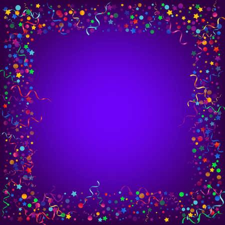 Multi colored Circles Flying Vector Blue Background. Celebration Confetti Design. Serpentine Fun Invitation. Red and Yellow Happy Poster. Illusztráció