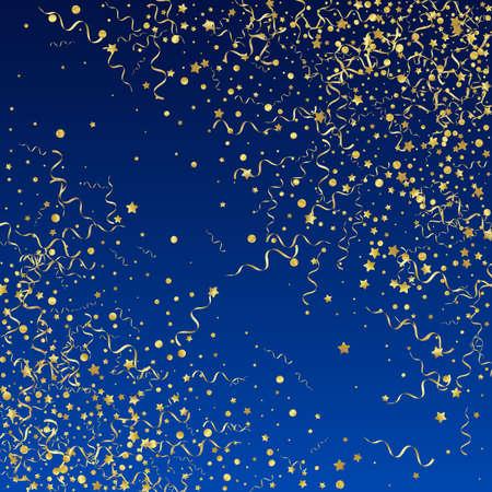 Yellow Serpentine Paper Vector Blue Background. Festive Confetti Branch. Star Abstract Illustration. Gold Celebration Design. Illusztráció