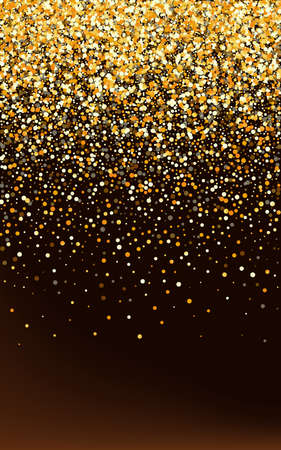 Yellow Shine Light Brown Dark Background. Vector Circle Postcard. Golden Polka Art Background. Confetti Modern Backdrop. 版權商用圖片 - 159637112