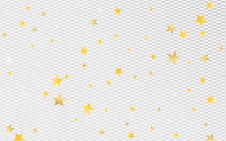 Yellow Party Stars Vector Transparent Background. Elegant Sparkle Texture. Dust Wallpaper. Gold Graphic Star Background.