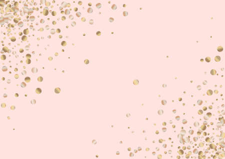 Gold Circle Anniversary Pink Background. Christmas Shine Texture. Golden Rain Bridal Banner. Dust Effect Background.
