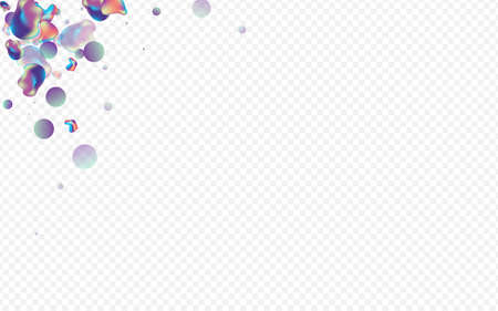 Iridescent Bubbles Splash Vector Transparent Background. Party Holography Banner. Light Organic Liquid Poster. Holographic Minimal Layout.