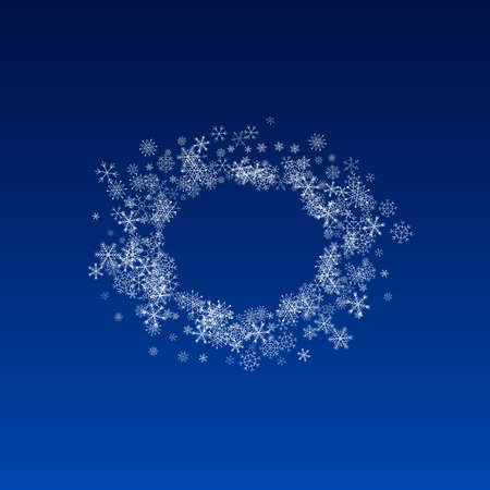Gray Snowfall Vector Blue Background. magic Snowflake Wallpaper. Silver Winter Illustration. Holiday Snow Texture.
