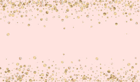 Yellow Dust Anniversary Pink Background. Luxury Glow Texture. Gold Sparkle Golden Backdrop. Circle Vector Invitation.