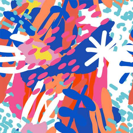 Bright Flower Different Vector Seamless Pattern. Shapes Doodle Illustration. Motley Textures Collage. African Shape Print. Illusztráció
