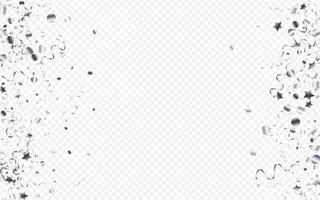 Silver Star Decoration Vector Transparent Background. Flying Serpentine Invitation. Ribbon Celebrate Template. Silver Falling Poster. Illusztráció