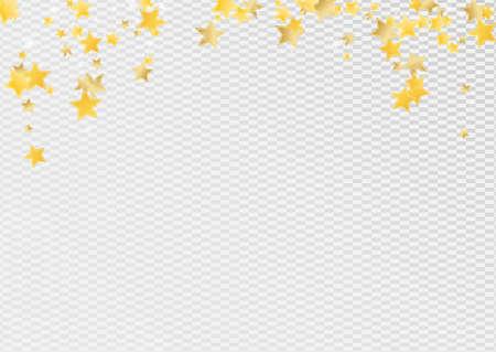 Yellow Magic Stars Vector Transparent Background. Party Sky Illustration. Glitter Border. Golden Abstract Universe Wallpaper. Illusztráció