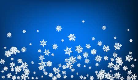 White Snow Panoramic Vector Blue Background. Winter Snowflake Card. Gray Xmas Holiday. Light Snowfall Pattern. Stock fotó