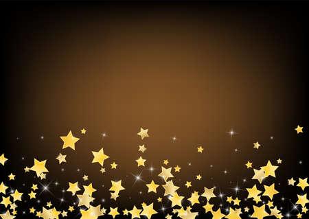 Gold Shiny Stars Vector Brown Background. Bright Dust Background. Starry Design. Golden Digital Shine Banner. Stock fotó