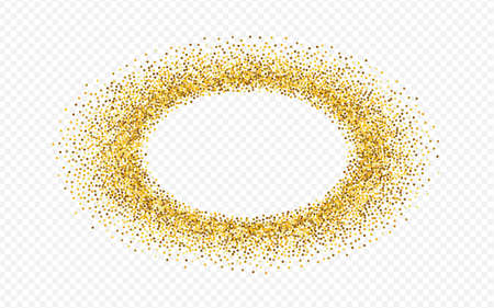 Gold Sparkle Christmas Transparent Background. Isolated Shine Texture. Yellow Splash Paper Banner. Round Anniversary Design.