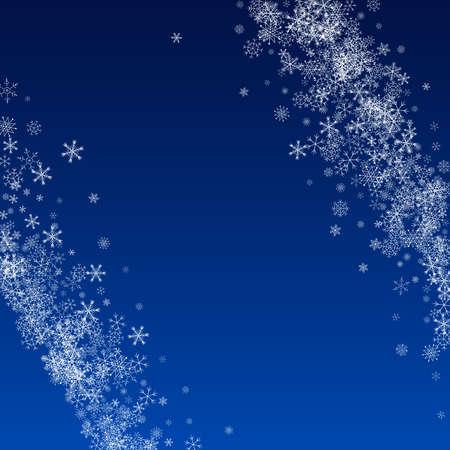 Silver Snow Vector Blue Background. Xmas Snowflake Illustration. White magic Wallpaper. Holiday Snowfall Holiday.