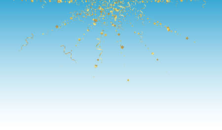 Yellow Ribbon Flying Vector Blue Background. Falling Serpentine Poster. Star Happy Branch. Gold Shiny Design.