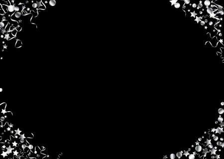 Silver Star Celebration Vector Black Background. Celebrate Ribbon Illustration. Spiral Abstract Branch. Silver Festive Plant. Illusztráció