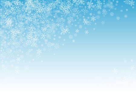 Gray Snowflake Vector Blue Background. magic Snowfall Wallpaper. White Winter Holiday. Abstract Snow Banner.