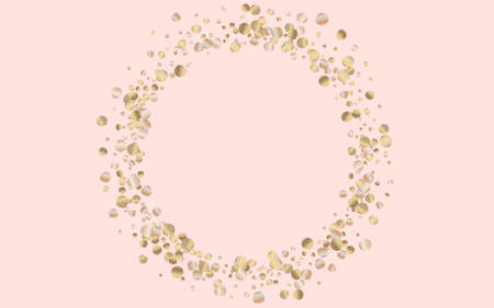 Golden Circle Isolated Pink Background. Bright Sequin Postcard. Bronze Sparkle Modern Backdrop. Polka Abstract Invitation.