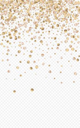 Bronze Circle Shiny Transparent Background. Vector Splash Backdrop. Yellow Confetti Abstract Wallpaper. Glow Art Banner.