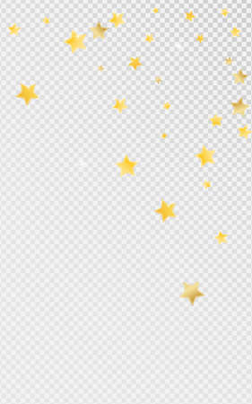 Yellow Bright Stars Vector Transparent Background. Galaxy Dust Background. Glitter Illustration. Gold Magic Space Border.