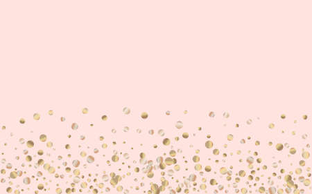 Yellow Dot Light Pink Background. Happy Polka Texture. Gold Dust Isolated Design. Glow Transparent Card.