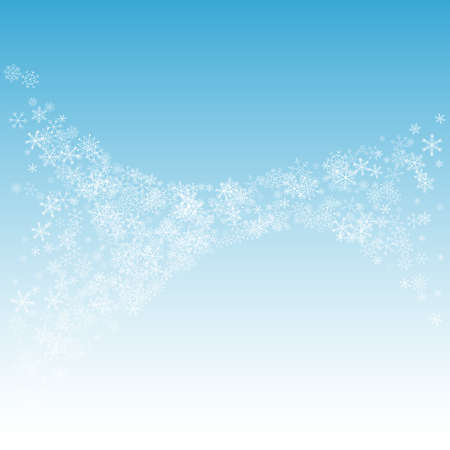 White Snowflake Vector Blue Background. Xmas Snow Card. Gray Christmas Transparent. Sky Snowfall Design. Illusztráció