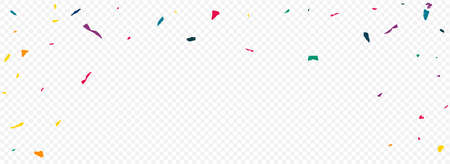 Rainbow Paint Flying Panoramic Transparent Background. Vector Elements Texture. Carnival Confetti Design. Color Colored Paper Carnaval Postcard.
