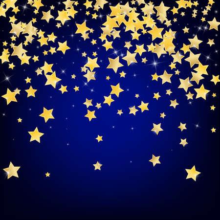 Yellow Galaxy Stars Vector Blue Background. Xmas Sky Texture. Universe Design. Golden Effect Confetti Illustration.
