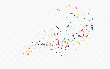 Yellow Particles Celebrate Transparent Background. Effect Elements Backdrop. Carnaval Paint Banner. Orange Colored Paper Celebration Invitation. Ilustracja