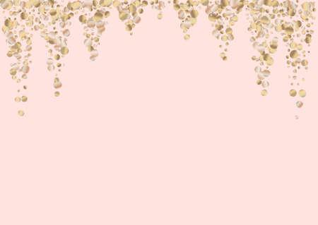 Yellow Polka Isolated Pink Background. Transparent Sequin Backdrop. Golden Rain Festive Invitation. Splash Christmas Postcard.