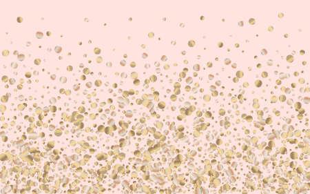 Gold Dot Christmas Pink Background. Effect Sequin Banner. Bronze Splash Art Postcard. Glow Modern Backdrop. Ilustracja