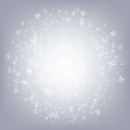 Gray Snowfall Vector Gray Background. Holiday Snow Pattern. Silver Fantasy Illustration. Falling Snowflake Texture.