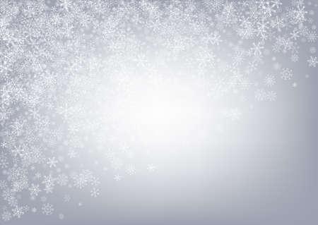 Silver Snowflake Vector Gray Background. Holiday Snowfall Pattern. Gray Winter Holiday. Fantasy Snow Card.
