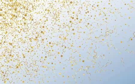 Golden Star Paper Vector Gray Background. Christmas Serpentine Branch. Confetti Swirl Invitation. Yellow Decoration Poster.