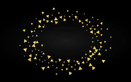 Gold Dust Bridal Black Background. Light Confetti Backdrop. Yellow Shine Modern Illustration. Glow Rich Pattern. Ilustracja