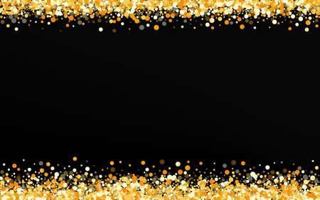 Yellow Confetti Glamour Black Background. Shiny Splash Pattern. Golden Shine Abstract Backdrop. Dust Art Card. Ilustracja