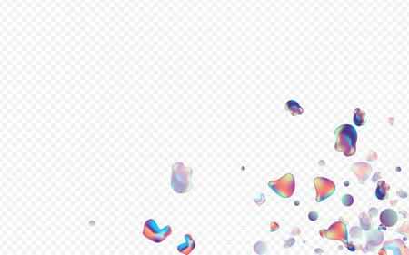 Light Bubble Cosmic Vector Transparent Background. Trendy Liquid Layout. Neon Minimal 3d Banner. Holographic Retro Cover. Illustration