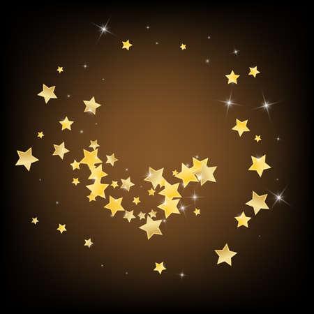 Gold Xmas Stars Vector Brown Background. Bright Rain Pattern. Star Wallpaper. Yellow Abstract Confetti Border. Illustration