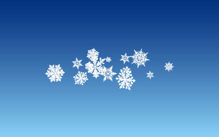 White Snow Panoramic Vector Blue Background. Light Snowflake Backdrop. Silver New Wallpaper. Fantasy Snowfall Pattern.