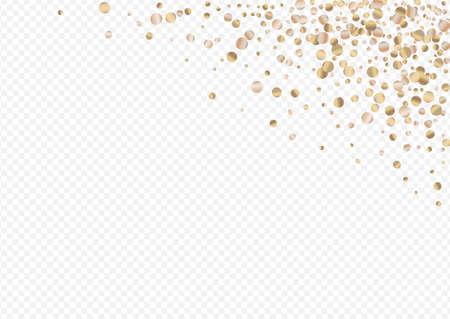 Bronze Polka Falling Transparent Background. Art Glow Wallpaper. Gold Confetti Luxury Card. Circle Modern Texture. Illustration