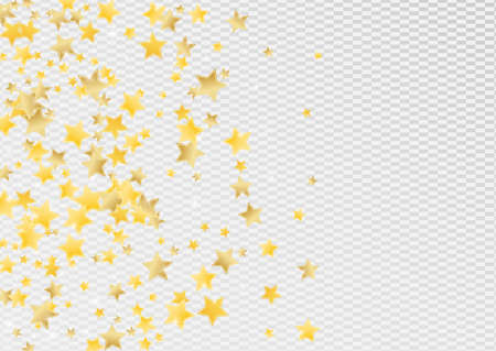 Golden Digital Stars Vector Transparent Background. Glamour Star Template. Glitter Illustration. Yellow Twinkle Space Wallpaper. Stockfoto